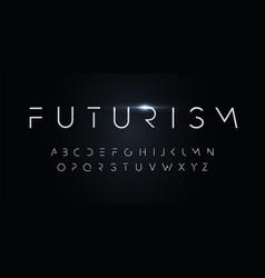 futurism style alphabet thin segment line font vector image