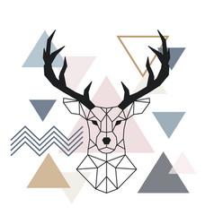 geometric muzzle deer scandinavian style color vector image