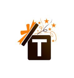 gift box ribbon letter t vector image