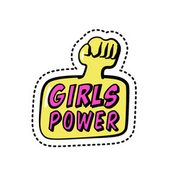 girls power colorful sticker with phrase and fist vector image