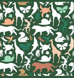 green wild animal icon seamless pattern vector image