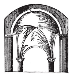 Groined-arch four corners vintage engraving vector