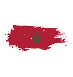 Grunge brush stroke with morocco national flag vector