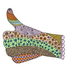 Hand zen tangle doodle arm vector