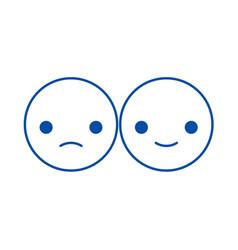 happy and sad emoji line icon concept happy and vector image