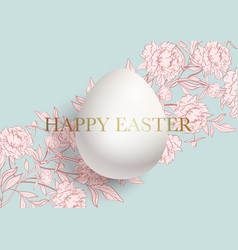 happy easter card a cute pink floral pattern of vector image