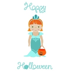 Happy halloween card with cute mermaid vector image