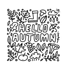 hello autumn hand drawn lettering card vector image