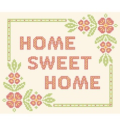 Home sweet - cross-stitch embroidery vector