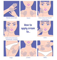how to apply cream to the face neck hands belly vector image