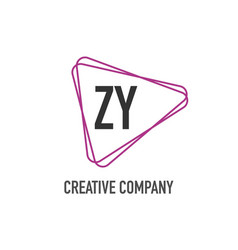 initial letter zy triangle design logo concept vector image
