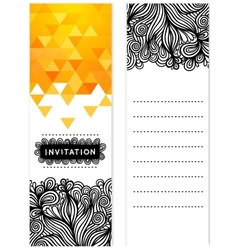 Invitation with doodles triangles vector image