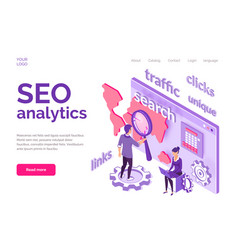 isometric concept of seo analytics for website vector image