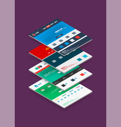 isometric concept of web site design templates vector image