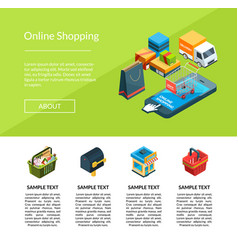 isometric online shopping icons website vector image
