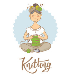 knitting lettering logo for yarn store vector image
