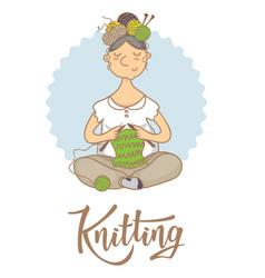 Knitting lettering logo for yarn store vector