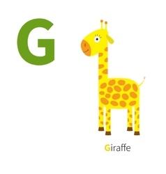 Letter g giraffe zoo alphabet english abc vector