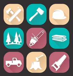 Lumberjack woodcutter icons set vector