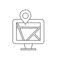 map on monitor line black icon vector image