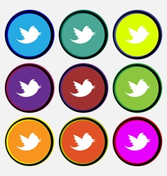 messages retweet icon sign Nine multi-colored vector image
