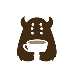 monster coffee cup cafe drink negative space logo vector image