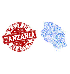 Mosaic map of tanzania with wheel links and made vector