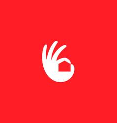 ok hand house logo design modern minimal style vector image