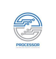 processor cpu - logo template vector image