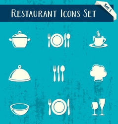 Restaurant icons retro collection vector image