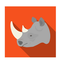 Rhinoceros icon in flat style isolated on white vector