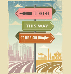 road direction boards modern street directional vector image