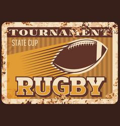 rugby football american metal plate rusty sport vector image
