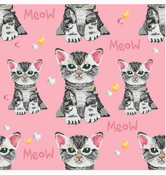 Seamless pattern with many very cute small cats vector