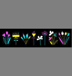 set colorful flowers in a flat style isolated vector image