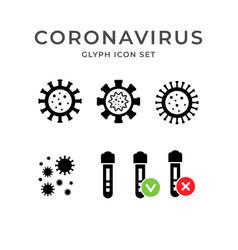 set glyph icons coronavirus vector image