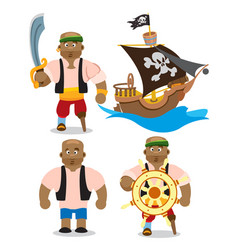 Set of depicting an african man and a pirate ship vector