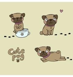 Set of little pugs Cute animals vector image