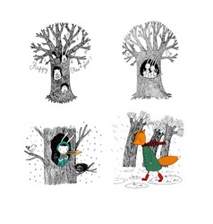 Set with magic trees fairy forest hand drawing vector