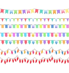 Seven festive horizontal seamless patterns vector image