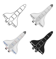 Space shuttle icon in cartoon style isolated on vector