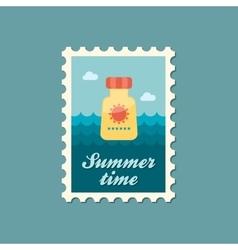 Sunscreen flat stamp summertime vector