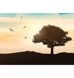 Sunset tree background 0205 vector