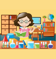 Teacher with book and science equipments vector