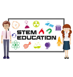 teachers and stem education on board vector image