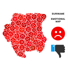 Unhappy suriname map mosaic of sad smileys vector
