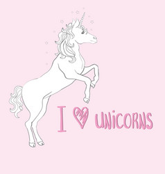 Unicorns are real quote drawing cute unicorn vector