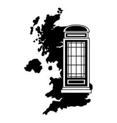 united kingdom map telephone booth vector image