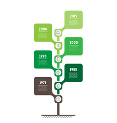 Vertical timeline infographics tree of the vector