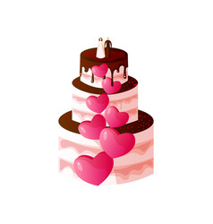 wedding cake with bride and groom at top vector image